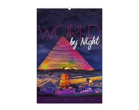 World By Night Wall Calendar