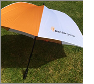 Umbrellas offer an amazing branded area for your logo and important message