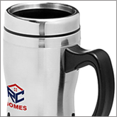 Metal travel mugs make relevant giveaways