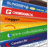 Branded rulers are manufactured in many materials<