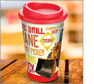 Stylish metal and plastic branded mugs to ensure your message travels far and wide