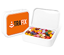 White Sweet Tins - Gourmet Jelly Beans  by Gopromotional - we get your brand noticed!