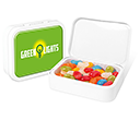 White Sweet Tins - Jelly Beans  by Gopromotional - we get your brand noticed!
