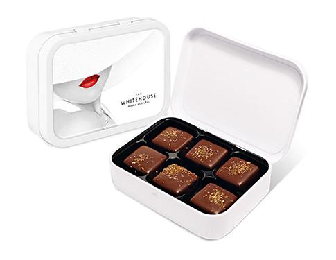 White Sweet Tin - Dark Chocolate Salted Caramels