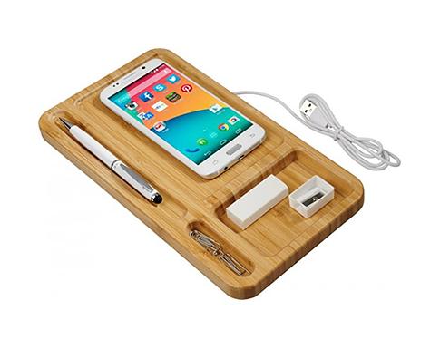 Toyko Bamboo Wireless Charging Desk Organiser