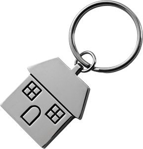 Promotional House Shaped Metal Keyrings Printed With Your