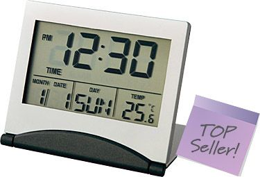 Folding Slimline LCD Metal Alarm Clocks