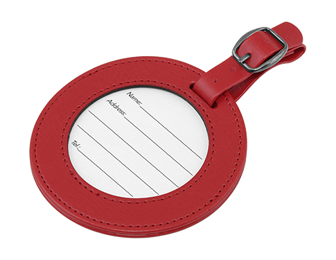 Voyager Round PU Luggage Tag With Window