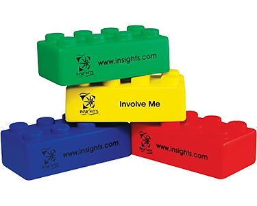 Promotional Play Brick Stress Toys Printed With Your Logo