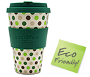 400ml eCoffee Cups - Green Polka  by Gopromotional - we get your brand noticed!