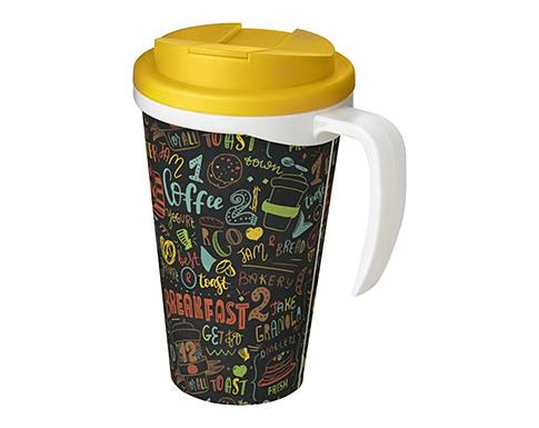 Americano ColourBrite 350ml Grande Travel Mug - White Handle - Spill Proof Lid